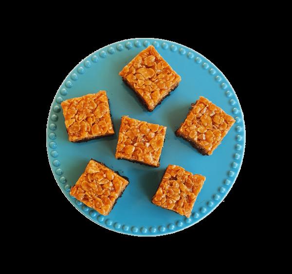 bio crunchy fudgy karamel brownies natuurlijke lekkernijen biologische gebakjes bestel online bestellen bezorgen brownie bestellen bijzonder biologisch gebak den haag voorburg zoetermeer delft delfgauw berkel wateringen hoek van holland zoeterwoude leidschendam leiden