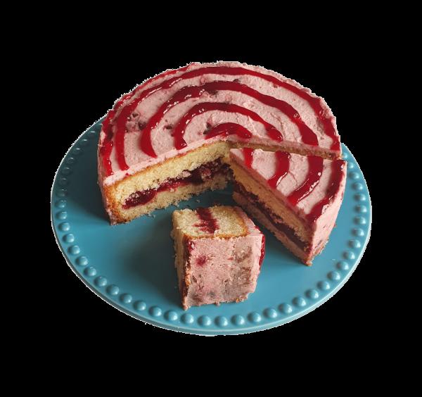 Cherry Swirl Cake kersen jam vanille bio biologisch organic roomboter ambachtelijk bakker bakkerij online webshop kantoor eerlijk Fair Trade bestellen bezorgen vers Den Haag Zuid Holland Nederland Utrecht Rotterdam Amsterdam