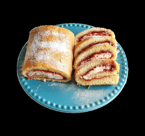Bio Swiss Roll Cake aardbeiensmaak aardbeientaart biologische lekkere taart slof veganistische natuurlijk bijzondere gebakjes lekkernijen online bestellen bezorgen afhalen bedrijfstaarten den haag voorburg leiden leidschendam zoetermeer leidschenhage rijswijk delft alphen aan de rijn hoek van holland