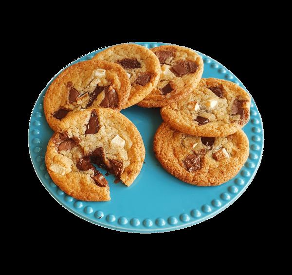 Organic Chocolate Chip Cookies bestellen | De lekkerste biologische chocolade koekjes online bestellen voor 14.00 zelfde dag verzonden per post - Bio Cookie Box - Bio Brownie Box - Relatiegeschenk - Duurzaam - Ambachtelijk - Vers op Order - Bio - Vegan keuzes