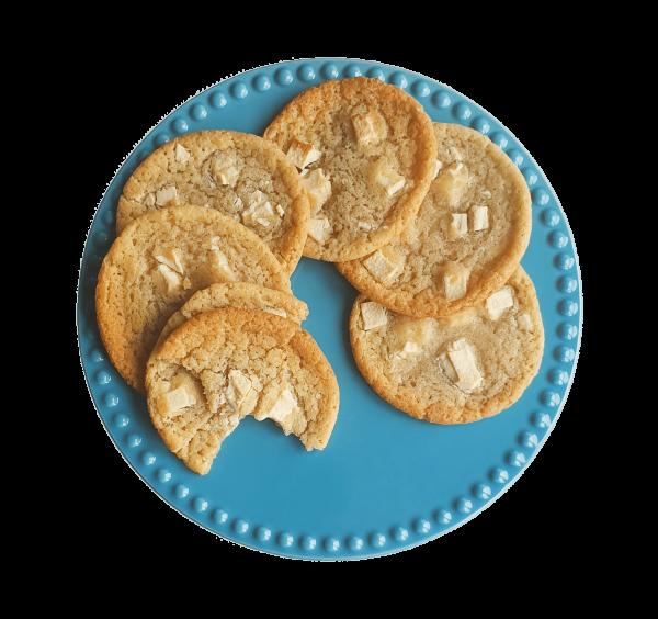 Organic White Chocolate chip cookies Box bestellen - De lekkerste biologische witte chocolade koekjes online bestellen, voor 14.00 zelfde werkdag verzonden per post - BIO Cookie Box cadeau - Relatiegeschenken - Traktatie - Luxe Brownies Cookies and more