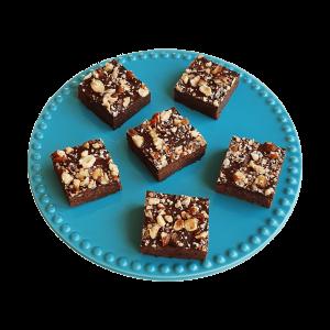 Biologische vegan hazelnut brownies - Bio veganistische chocolade gebakjes online gemakkelijk bestellen - Ambachtelijk, vers en handgemaakt - All Organic - Vegan chocolade gebakjes, lekker biologisch en verantwoord