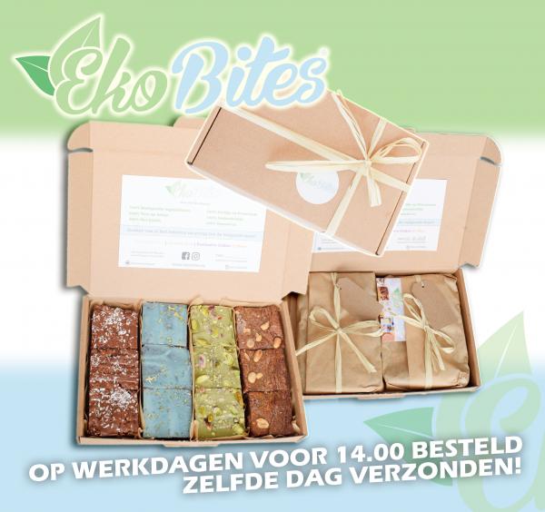 Biologische Brownie Box - Bio fudgy brownies online bestellen - De lekkerste natuurlijke brownies per post - Ambachtelijk en vers op order - Vegan keuzes..vBiologische Brownie Box - Bio fudgy brownies online bestellen - De lekkerste natuurlijke brownies per post - Ambachtelijk en vers op order - Vegan keuzes..