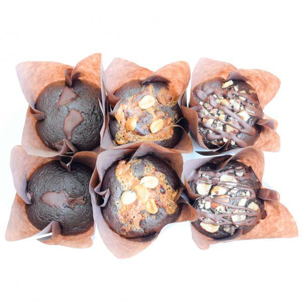Vegan muffins bestellen? Deze mix van vegan muffins zijn volledig biologisch, ambachtelijk, duurzaam en vers op order! - Per post verstuurbaar - Nu met gratis persoonlijk boodschap! - Geschenk - Beterschap - Traktatie - Cadeau