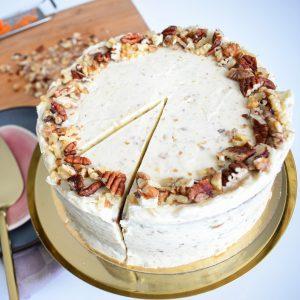 Bio Vegan Carrot Cake (*glutenarm) (*suikervrij) - Biologisch, Vegan, Suikervrije en Glutenarme Wortel Taart Bestellen | Ambachtelijk - Duurzaam - Vers op Order | De lekkerste Bio Vegan Taarten en Gebakjes gemakkelijk online te bestellen!